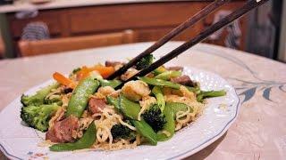 Stir Fried Ramen Noodle W/ Beef, Shrimp, Vegetables