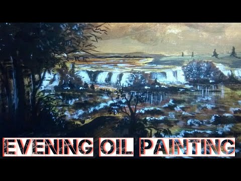 Art evening classes |  for beginners | river, landscape,sky oil painting art