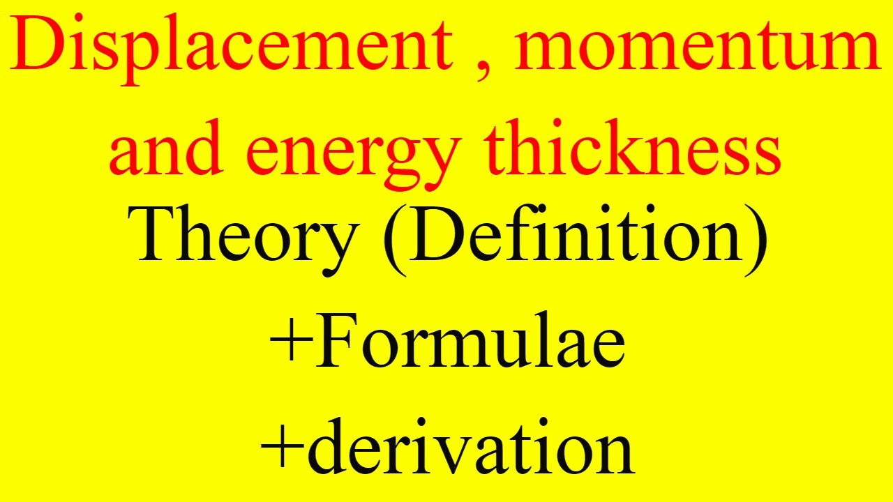 displacement thickness,momentum thickness, energy thickness formulas and  Derivation,boundary layer