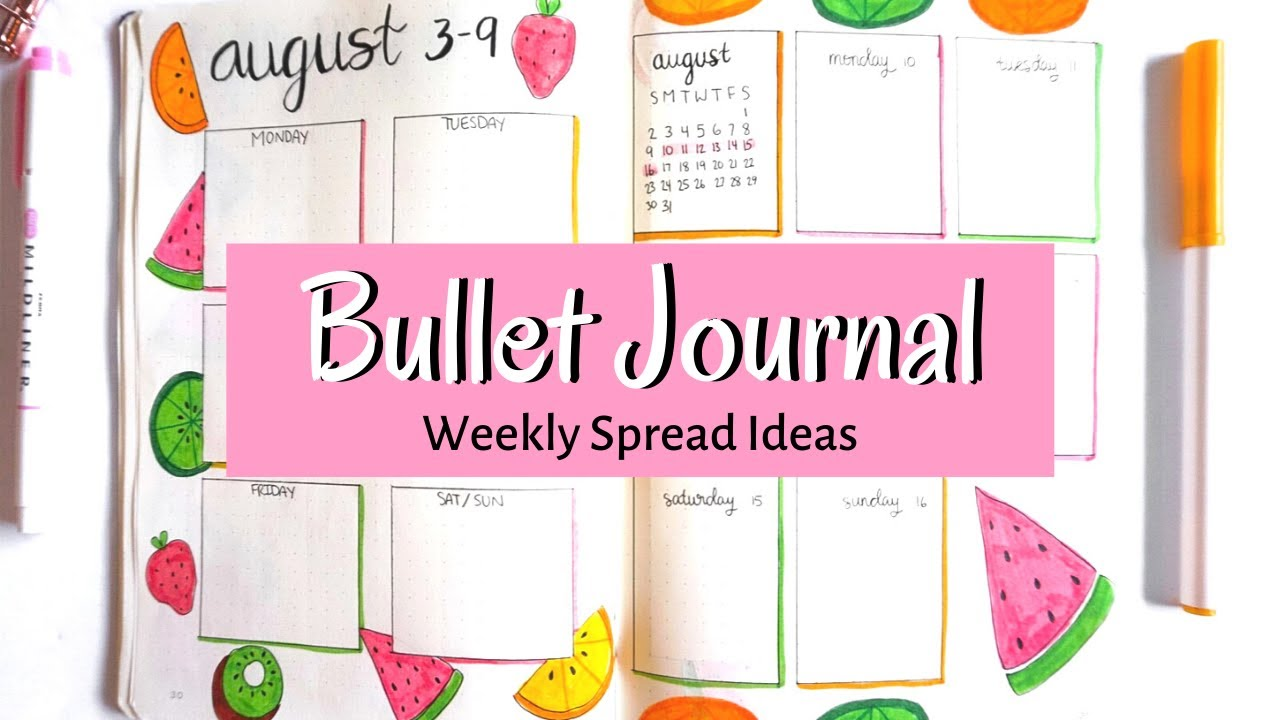 Bullet Journal Weekly Spread Ideas   EASY ONE PAGE LAYOUTS