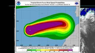 Hurricane Leslie ( 13L Cat 1) latest.  October 12 AST 03:02Hrs