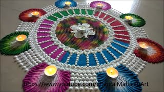 Big rangoli design for diwali festival using comb|attractive rangoli by Shital Mahajan