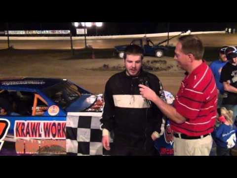 Alex Boozel in victory lane at Path Valley 9/18/15