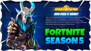 FORTNITE SEASON 5 - TOUS SKINS ET ITEMS - MAP CHANGES! USING PORTALS/RIFTS! TOUS LES 100 NIVEAUX VITRINE!