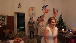 Бросание свадебного букета.