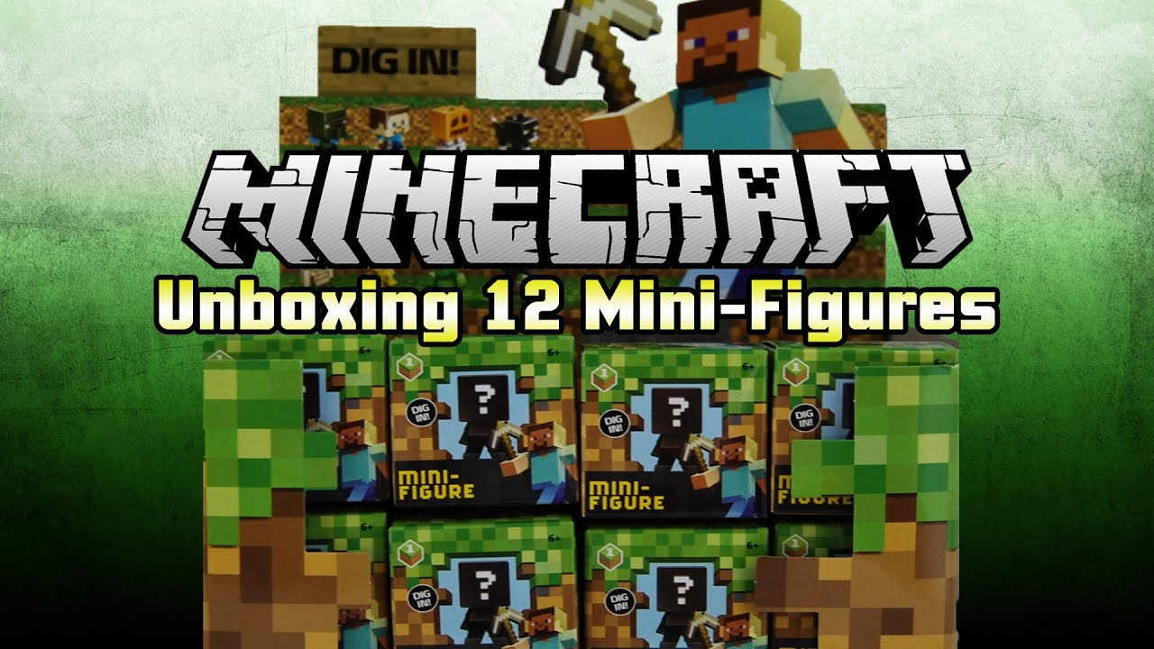 Minecraft Grass Series 1 Mini Figures Complete 12 Unboxing