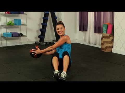 Seated Russian Twist With Medicine Ball, Ab Exercises, Fit How To