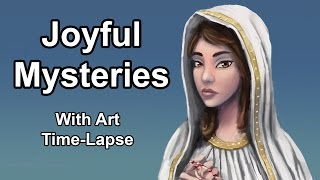 Our Lady of Fatima: Art Time-Lapse + Holy Rosary (Joyful Mysteries)