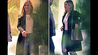 Jennifer Aniston pictured smiling following split from Justin Theroux as she leaves Friends