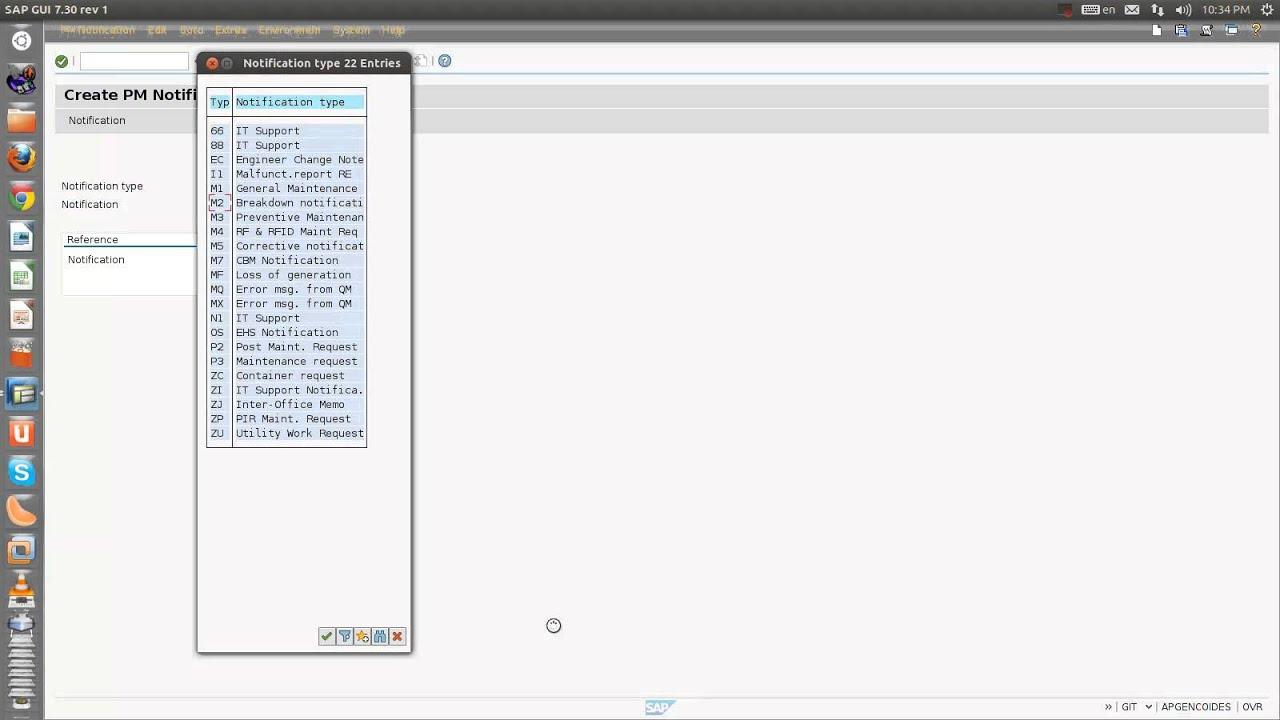 Notification creation in plant maintenance Module of SAP