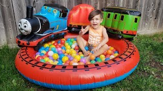 Thomas & Friends Playland with Color Balls Inflatable Pit! Funny Kids Video