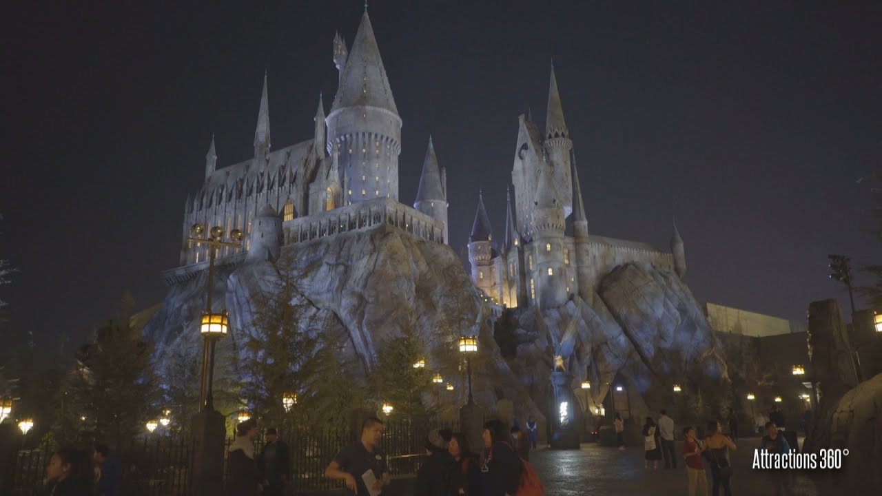 4k tour wizarding world of harry potter hollywood - Hogwarts at night wallpaper ...