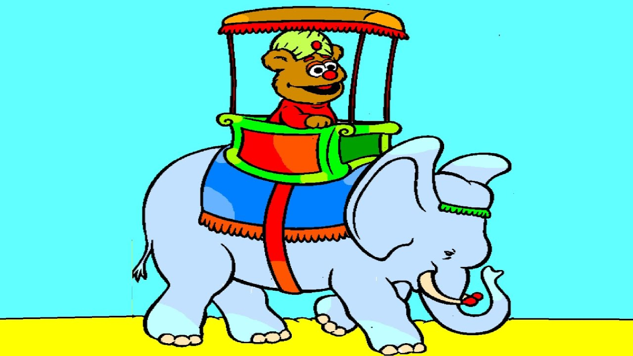 baby fozzie bear riding an elephant muppet babies coloring pages