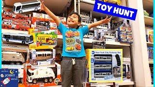 Johny's Toy Hunt For MTA Toys MTA Motorized Subway Train & MTA Toy Buses
