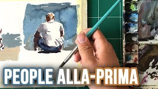 How to Paint PEOPLE Alla Prima in Watercolor
