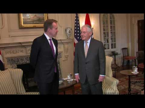 Secretary of State Tillerson camera spray with Borge Brende