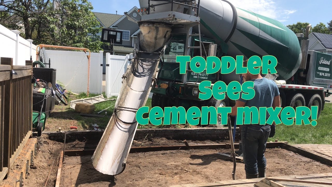 toddler sees a real concrete mixer in action cement mixer truck