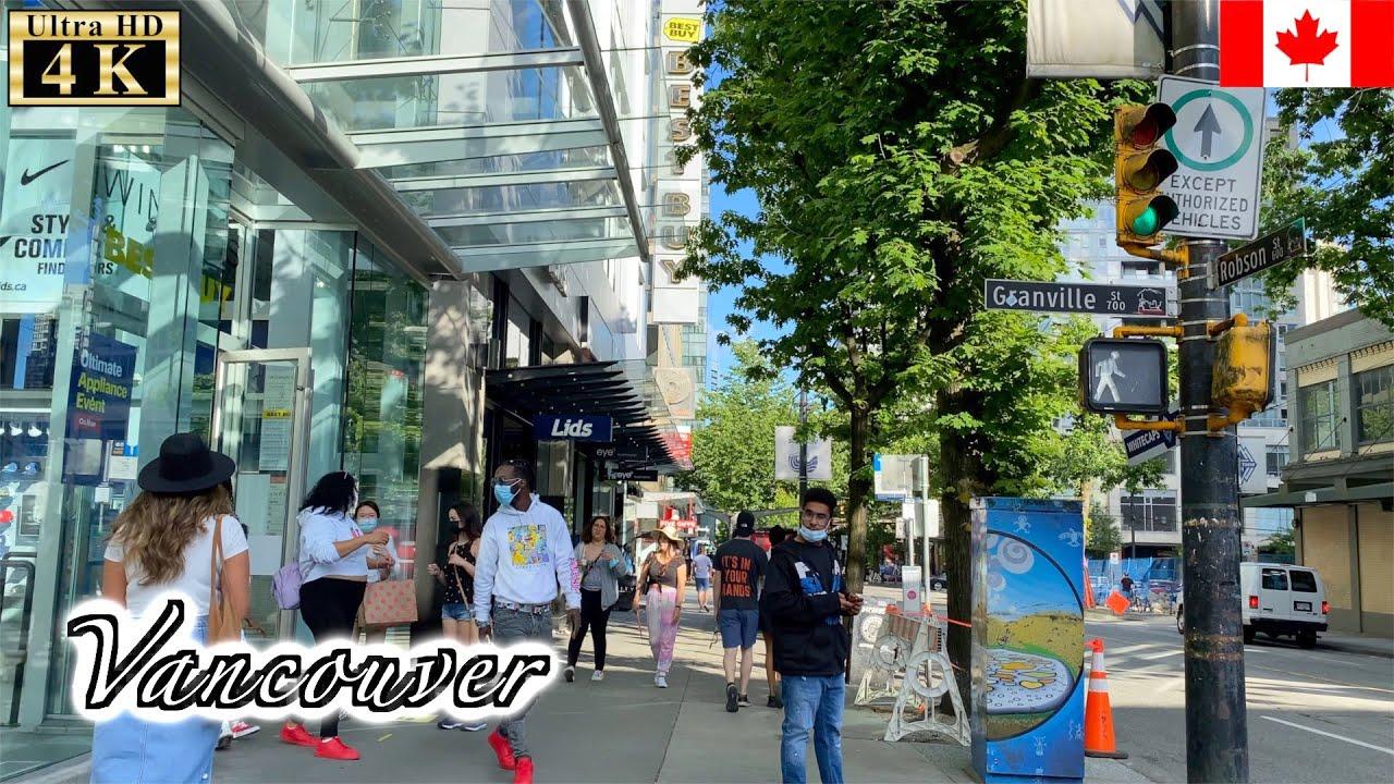 🇨🇦【4K】Vancouver Summer Walk -  Downtown (June, 2021)