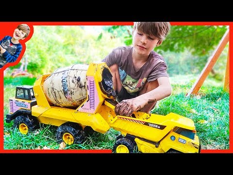 CEMENT TRUCKS and DUMP TRUCKS for Kids in the MUD