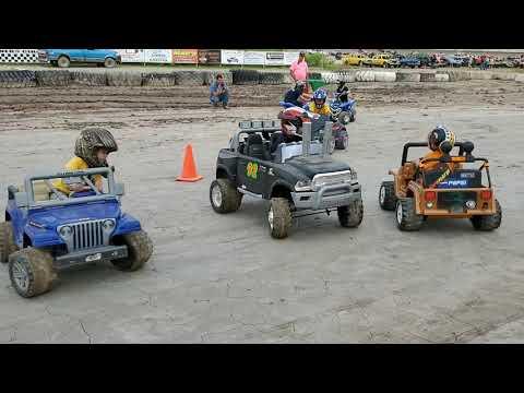 Kids powerwheels demo derby winston speedway rothbury michigan 7/6/2019. - dirt track racing video image