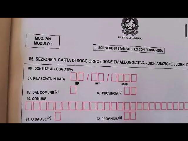 تجديد بطاقة الاقامة Rinnovo Permesso O Carta Di Soggiorno Modulo 1 Youtube