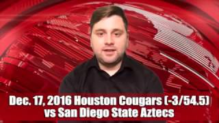 Quick Pick 12/17/16 Houston Cougars (-3/54.5) vs San Diego State Aztecs Expert Prediction