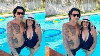 Sunny Leone Chilling In The Pool With Husband Daniel Weber In Los Angeles
