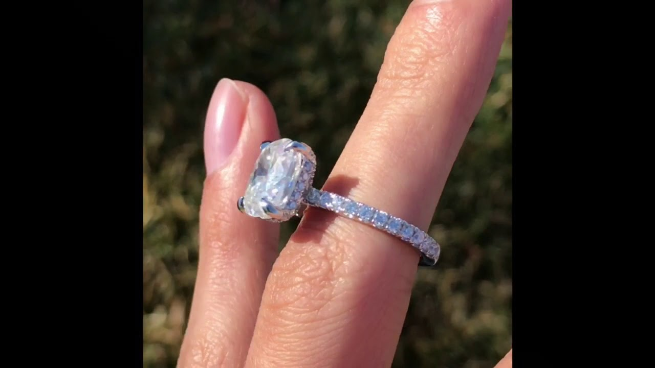 3 00 Carat Elongated Cushion Harro Moissanite Diamond Hidden Halo Ring