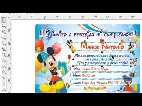 Invitacion De Mickey Mouse Para Imprimir En Corel Draw X4