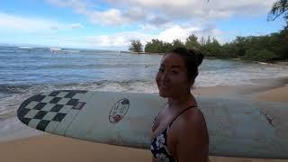 Eimy surfs Puaena Point