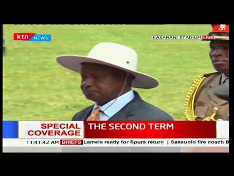 Ugandan President Yoweri Museveni arrives at Kasarani Stadium for the inauguration ceremony