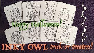 Inktober Mini ATC Halloween Owl Trick or treaters!
