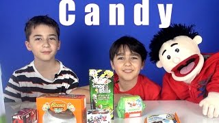 Eating Kinder Egg Candy and More With Travi the Puppet