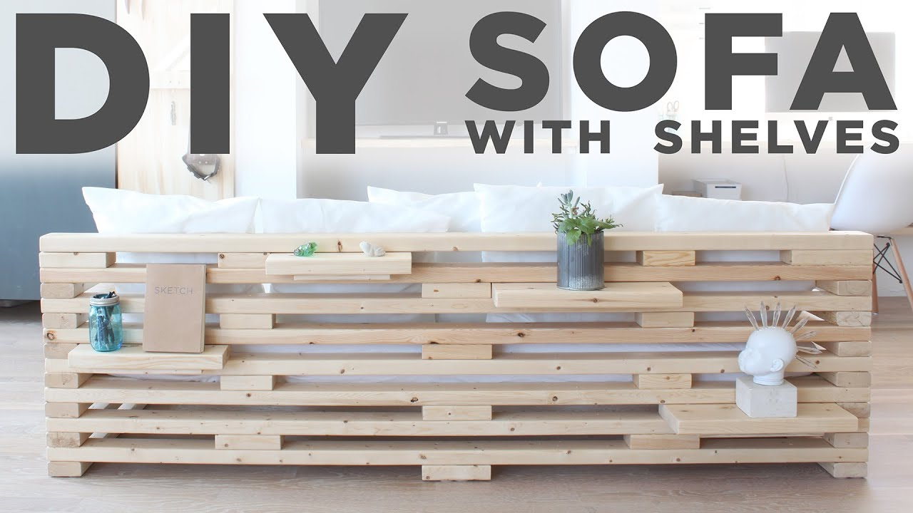 DIY Sofa With Shelves | A 3 Tool Project   YouTube