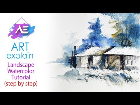 Snow house Watercolor  Landscape Tutorial | How to paint a watercolor landscape | Art Explain