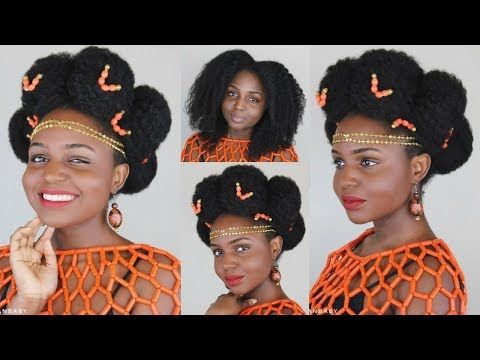 Nigerian Cultural Updo hairstyle on 4c natural hair ft UncleFunkysDaughter