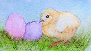 Easter chick in watercolor pencils