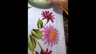 Pintura em tecido como pintar crisântemos