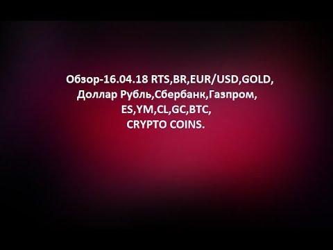 Обзор-16.04.18 RTS,BR,EUR/USD,GOLD, Доллар Рубль,Сбербанк,Газпром,ES,YM,CL,GC,BTC,CRYPTO COINS