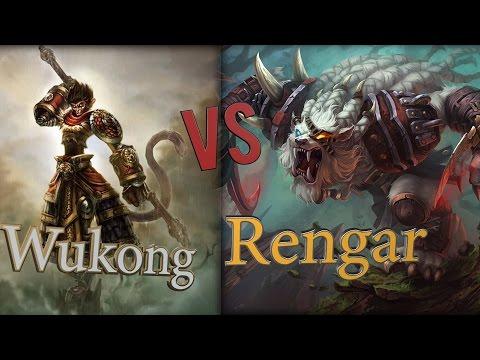 видео: wukong vs rengar / Вуконг против Ренгара полная и интересная игра, Лига Легенд