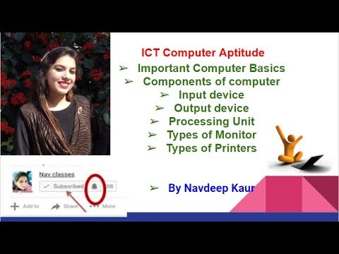 ICT Computer Aptitude- Components of computer, Input, Output device, Processing Unit | Class 7