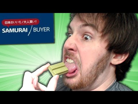 EATING WEIRD GREEN JAPANESE CHOCOLATE CHALLENGE! - Samurai Buyer Skit and Unboxing