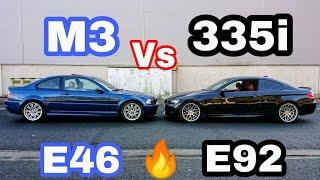 BMW M3 Vs 335i (E46 Vs E92) Prueba, Test, sonido, interior, motor, frenos, turbos, sensaciones, ....