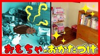 きゃ!ゴキブリ!おもちゃで散らかった部屋を片付けよう★セリアにダイソー100均グッズが大活躍!ふたりはなかよし♪ thumbnail