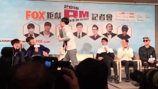 Yoo Jae Suk kissing Kim Jong Kook on the cheek