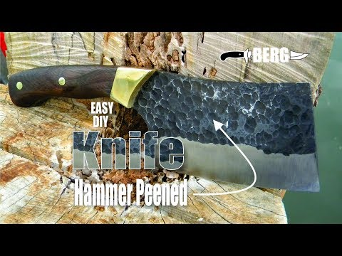 How to easily make a Cleaver Knife with a Hammer Peened blade
