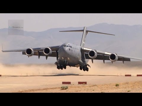 The Mighty C-17 Globemaster III Landing/Takeoff On A Dirt Airfield