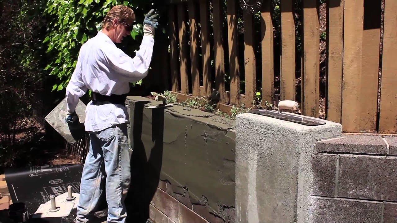 Steel trowel plaster finish over cinder blocks  YouTube