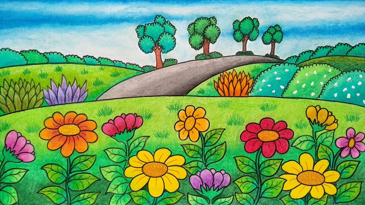 Menggambar Taman Bunga Cara Menggambar Pemandangan Taman Bunga Belajar Menggambar Bunga Youtube
