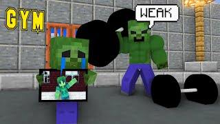 Very strong BABY ZOMBIE BODY BUILDER + ZOMBIE BAD PARENTS - MINECRAFT